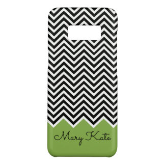 Black and GREENERY Modern Chevron Custom Monogram Case-Mate Samsung Galaxy S8 Case