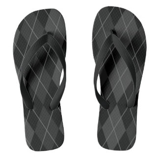 Black and Grey Argyle Flip Flops