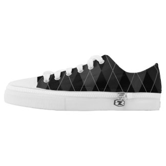 Black and Grey Argyle Low Tops