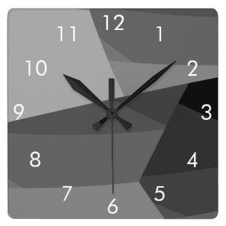 Black and Grey Block Square Clock