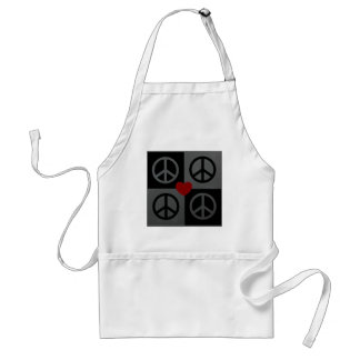 Black and grey blocks and reverse peace symbols apron