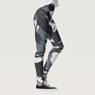 black and grey camouflage pattern leggings