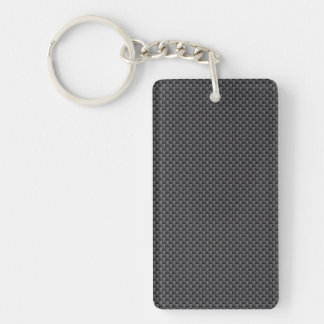 Black and Grey Carbon Fiber Polymer Double-Sided Rectangular Acrylic Key Ring