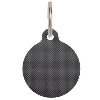 Black and Grey Carbon Fiber Polymer Pet Name Tag