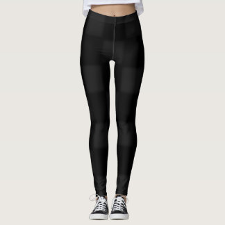 Black and grey chequered pattern leggings