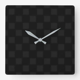 Black and grey chequered pattern square wall clock