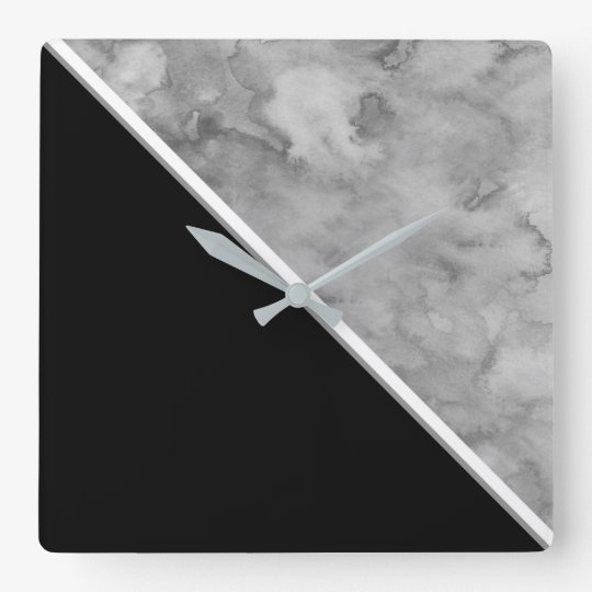 Black and Grey Colour Block Square Wall Clock