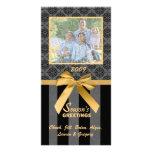 Black And Grey Damask Gold Ribbon Photo Card