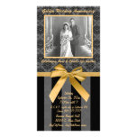 Black And Grey Damask Golden Anniversary Card Customised Photo Card