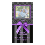 Black And Grey Damask Purple Ribbon Photo Card