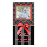 Black And Grey Damask Red Ribbon Photo Card