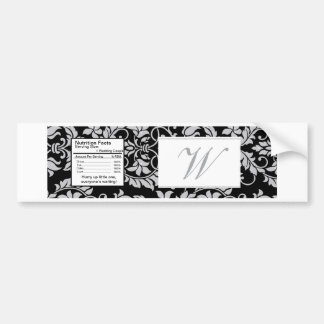Black and Grey Damask Wedding Water Bottle Label Bumper Sticker