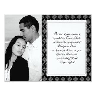 Black and Grey Diamond Damask Wedding Engagement 4.25x5.5 Paper Invitation Card