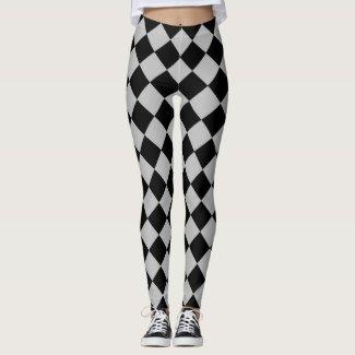 Black And Grey Diamond Pattern Leggings