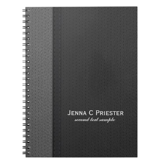 Black And Grey Faux Leather Spiral Notebook