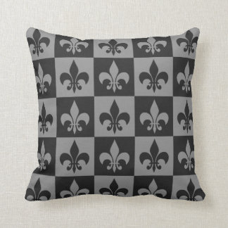 Black and Grey Fleur de lis Cushion