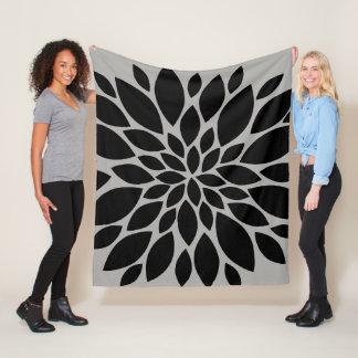 Black and Grey Floral Burst Fleece Blanket