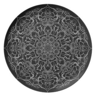 Black and grey Floral Plate