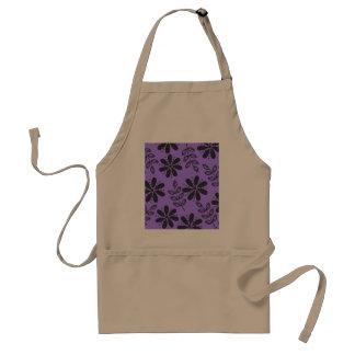 Black and Grey Floral, Purple Standard Apron