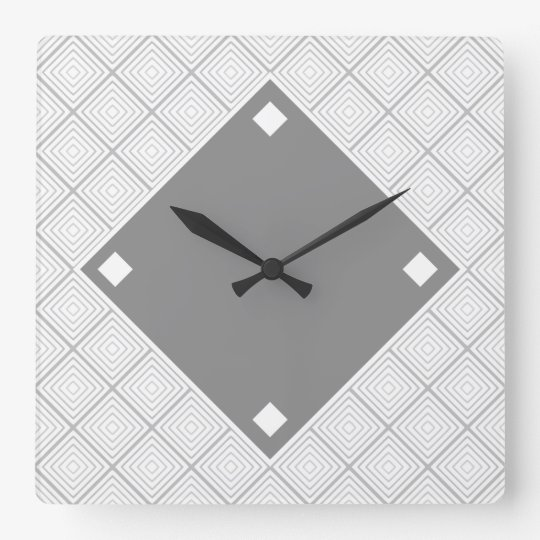 Black And Grey Geometric Design Square Wall Clock