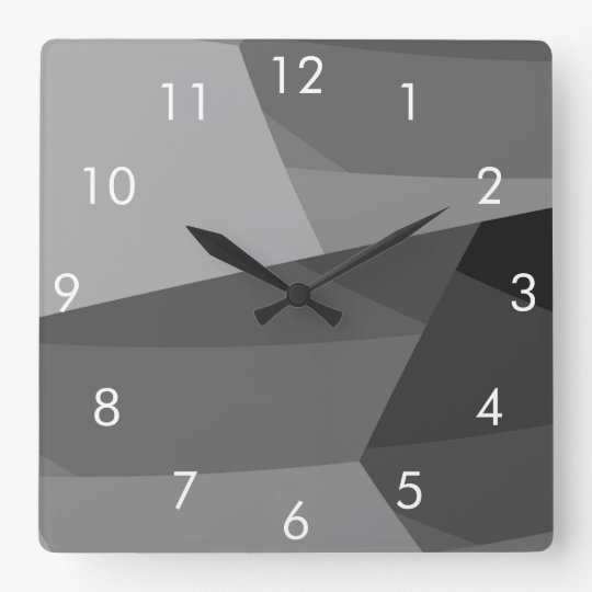 Black and Grey Geometric Square Wall Clock