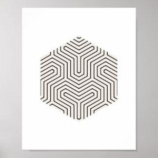 Black and Grey Hexagon Geometric Wall Art