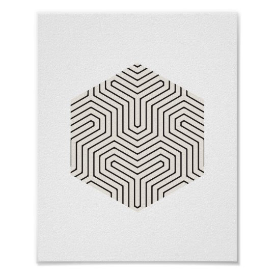 Black and Grey Hexagon Geometric Wall Art