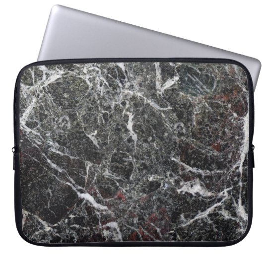 Black And Grey Marble Stone Pattern Laptop Sleeve