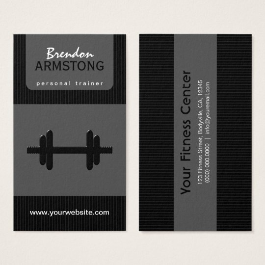 Black and Grey Pinstripe Dumbbell Personal Trainer Business