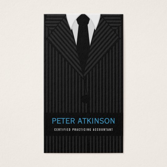 Black and Grey Pinstripe Suit Vertical Accountant Business Card