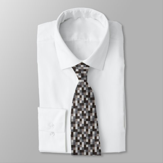 Black and Grey Pixelated Pattern | Gamer Tie
