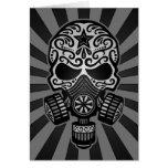Black and Grey Post Apocalyptic Sugar Skull Greeting Card