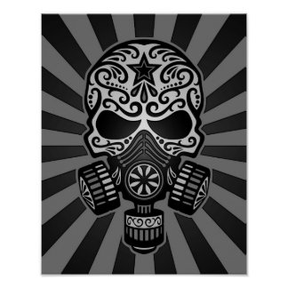 Black and Grey Post Apocalyptic Sugar Skull Poster