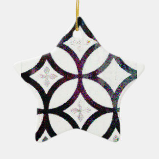 Black and grey Quatrefoil Pattern Christmas Tree Ornament
