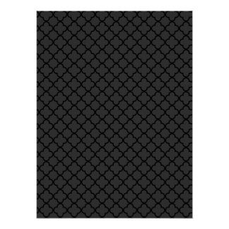 Black and Grey Quatrefoil Pattern Poster