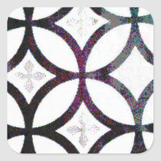 Black and grey Quatrefoil Pattern Square Sticker