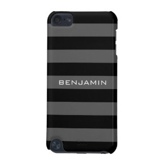 Black and Grey Rugby Stripes with Custom Name iPod Touch 5G Cover
