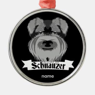 Black and Grey Schnauzer Silver-Colored Round Decoration