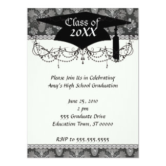 black and grey silver damask graduation announcement