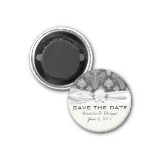 black and grey silver damask magnet