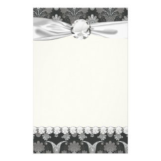 black and grey silver damask personalized stationery