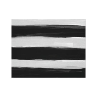 Black and Grey Stripes Stretched Canvas Print
