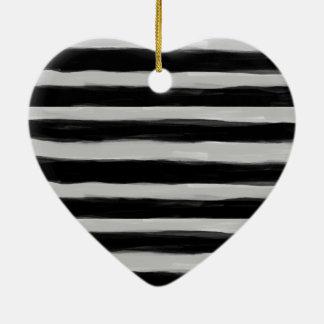 Black and Grey Stripes Ceramic Heart Decoration