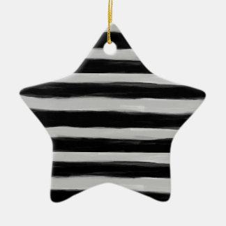 Black and Grey Stripes Ceramic Star Decoration