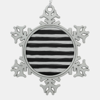 Black and Grey Stripes Pewter Snowflake Decoration