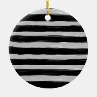 Black and Grey Stripes Round Ceramic Decoration