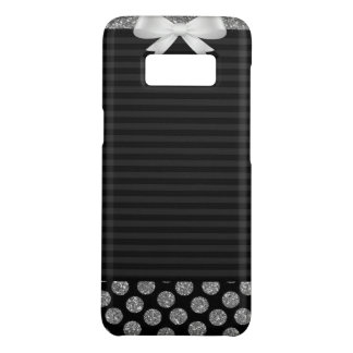 Black and grey stripes with bow on galaxy S8 case