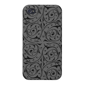 Black and Grey Swirling Vines Pattern Case For iPhone 4