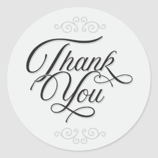 Black and Grey Thank You Stickers