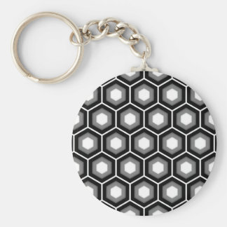 Black and Grey Tiled Hex Keychain